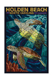 Holden Beach, North Carolina - Sea Turtle Paper Mosaic Print van  Lantern Press