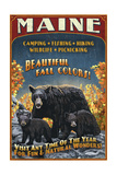 Maine - Black Bear Family Vintage Sign Prints