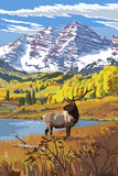 Maroon Bells and Elk Prints by  Lantern Press