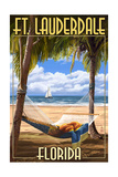 Ft. Lauderdale, Florida - Palms and Hammock Print by  Lantern Press