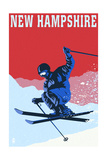 New Hampshire - Colorblocked Skier Poster by  Lantern Press