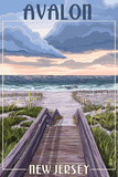 Avalon, New Jersey - Beach Boardwalk Scene Poster by  Lantern Press