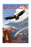 Condor and Rainbow - Grand Canyon National Park Prints by  Lantern Press