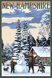 New Hampshire - Snowman Scene Posters by  Lantern Press
