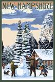 New Hampshire - Snowman Scene Posters
