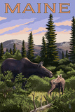 Maine - Moose and Baby Scene Prints