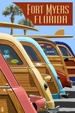 Fort Myers, Florida - Woodies Lined Up Prints by  Lantern Press