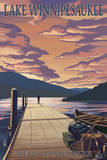 Lake Winnipesaukee, New Hampshire - Dock Scene at Sunset Poster by  Lantern Press