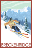 Downhill Skier - Breckenridge, Colorado Premium Giclee Print by  Lantern Press