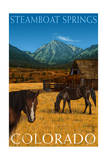 Steamboat Springs, Colorado - Horses and Barn Prints by  Lantern Press