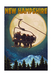 New Hampshire - Ski Lift and Full Moon Print by  Lantern Press