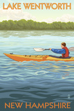 Lake Wentworth, New Hampshire - Kayak Scene Art by  Lantern Press