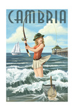 Cambria, California - Pinup Girl Fishing Posters by  Lantern Press