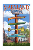 Annapolis, Maryland - Sign Destinations Poster by  Lantern Press