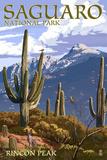 Saguaro National Park, Arizona - Rincon Peak Premium Giclee-trykk av  Lantern Press