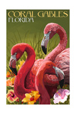 Coral Gables, Florida - Flamingos Posters by  Lantern Press