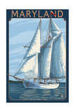 Maryland - Sailboat Scene Print by  Lantern Press
