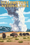 Yellowstone National Park - Old Faithful Geyser and Bison Herd Art by  Lantern Press