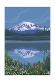 Mount Rainier - Reflection Lake - Image Only Prints by  Lantern Press