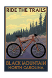 Black Mountain, North Carolina - Ride the Trails Prints by  Lantern Press