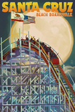 Santa Cruz, California - Big Dipper Coaster and Moon Posters by  Lantern Press