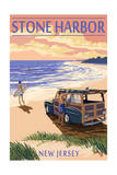 Stone Harbor, New Jersey - Woody on the Beach Prints by  Lantern Press