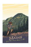 Maine - Hiking Scene - the Way Life Should Be Posters by  Lantern Press