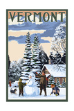 Vermont - Snowman Scene Prints by  Lantern Press