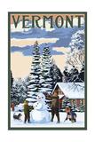 Vermont - Snowman Scene Prints