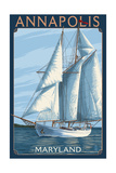 Annapolis, Maryland - Sailboat Scene Prints by  Lantern Press