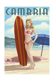 Cambria, California - Surfer Pinup Prints by  Lantern Press