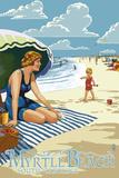 Myrtle Beach, South Carolina - Woman on Beach Art by  Lantern Press