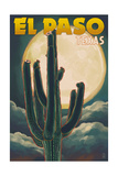 El Paso, Texas - Cactus and Full Moon Posters by  Lantern Press