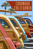 Coronado, California - Woodies Lined Up Poster by  Lantern Press