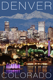 Denver, Colorado - Skyline at Night Posters by  Lantern Press