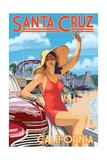 Santa Cruz, California - Woman Waving and Rides Art by  Lantern Press