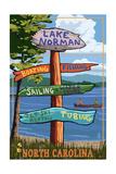 Lake Norman, North Carolina - Destination Sign Art by  Lantern Press