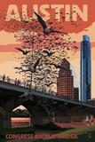 Austin, Texas - Bats and Congress Avenue Bridge Reprodukcje autor Lantern Press