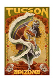 Tucson, Arizona - Day of the Dead Skeleton Dancing Posters by  Lantern Press