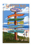 Suttons Bay - Marina Park, Michigan - Sign Post Prints by  Lantern Press