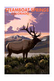Steamboat Springs, Colorado - Elk and Sunset Prints by  Lantern Press