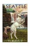 Seattle, Washington - Unicorn Scene Posters by  Lantern Press