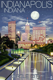 Indianapolis, Indiana - Indianapolis at Night Circle City Prints by  Lantern Press