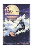 San Diego, California - Night Surfer Art by  Lantern Press