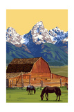 Horses and Barn with Mountains Prints by  Lantern Press