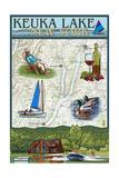 Keuka Lake, New York - Nautical Chart Posters par  Lantern Press
