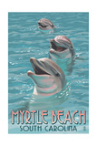 Myrtle Beach, South Carolina - Dolphins Prints by  Lantern Press