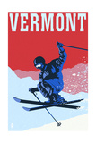 Vermont - Colorblocked Skier Prints by  Lantern Press