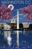 Washington, DC - Night Scene Ensiluokkainen giclee-vedos tekijänä  Lantern Press