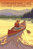 Merrymeeting Lake, New Hampshire - Canoe Scene Prints by  Lantern Press
